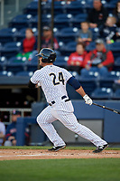 Scranton/Wilkes-Barre RailRiders first baseman Mike Ford (24) bats during a game against the Pawtucket Red Sox on May 15, 2017 at PNC Field in Moosic, Pennsylvania.  Scranton defeated Pawtucket 8-4.  (Mike Janes/Four Seam Images)