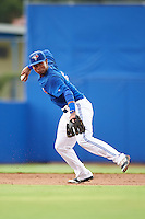 GCL Blue Jays third baseman Sterling Guzman (5) throws to first during the first game of a doubleheader against the GCL Phillies on August 15, 2016 at Florida Auto Exchange Stadium in Dunedin, Florida.  GCL Phillies defeated the GCL Blue Jays 7-5 in a continuation of a game originally started on July 30th.  (Mike Janes/Four Seam Images)