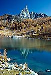 Prusik Peak and larches, Enchantment Lakes Basin, Alpine Lakes Wilderness, Washington, USA