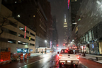NEW YORK, NEW YORK - JANUARY 31:  The Empire State Building is seen during the pass of the snowstorm on January 31, 2021 in New York City. New York City Mayor Bill de Blasio declared a state of emergency order due to the arriving storm that's expected to wallop New York, where airports are expected to cancel the majority if their flights. (Photo by Eduardo MunozAlvarez/VIEWpress)