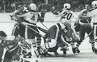 Pushing and punching: A first-period scrap got the Leaf game last night off to a rambunctious start. In one bout, Leafs' defenceman John Gibson, centre, wrestles Ryan Walter of the Capitals to the ice. In another fight, Leafs' Terry Martin battled Dennis Maruk. Capitals' Rick Green was ejected from the game as the third man in. All this occurred at just 3:55 of the first period. Others close to the heat of the action were Bob McGill and Don Luce.