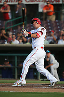 Mike Trout (27) of the Los Angeles Angels bats during a rehab game for the Inland Empire 66ers against the Rancho Cucamonga Quakes at San Manuel Stadium on July 9, 2017 in San Bernardino, California. Inland Empire defeated Rancho Cucamonga 12-2. (Larry Goren/Four Seam Images)