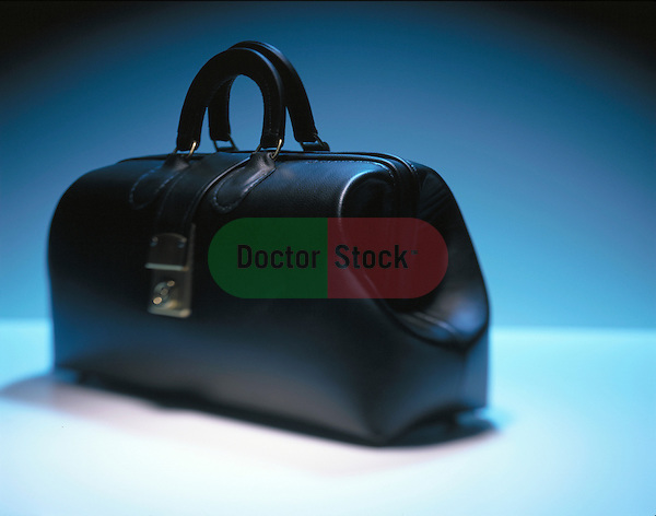 still-life of classic black leather doctor's bag, icon of healthcare