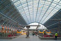 Passengers arrive on high-speed Eurostar trains on the Upper Level in St. Pancras station in London, England, UK.