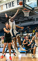 WASHINGTON, DC - JANUARY 29: Maceo Jack #14 of George Washington goes up for a shot during a game between Davidson and George Wshington at Charles E Smith Center on January 29, 2020 in Washington, DC.