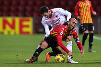 Hakan Calhanoglu of AC Milan and Pasquale Schiattarella of Benevento Calcio compete for the ball during the Serie A football match between Benevento Calcio and AC Milan at stadio Ciro Vigorito in Benevento (Italy), January 03rd, 2021. <br /> Photo Cesare Purini / Insidefoto