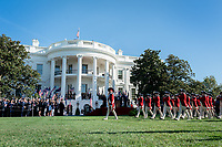 President Donald J. Trump and Australian Prime Minister Scott Morrison review the United States Army Old Guard Fife and Drum Corps during the State Visit Friday, Sept. 20, 2019, on the South Lawn of the White House. (Official White House Photo by Shealah Craighead)