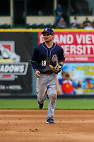San Antonio Missions second baseman Keston Hiura (18) jogs to the dugout between innings during a Pacific Coast League game against the Iowa Cubs on May 2, 2019 at Principal Park in Des Moines, Iowa. Iowa defeated San Antonio 8-6. (Brad Krause/Four Seam Images)