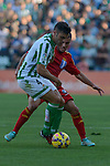 Betis's Bruno (L) and Huelva's Joselu during the match between Real Betis and Recreativo de Huelva day 10 of the spanish Adelante League 2014-2015 014-2015 played at the Benito Villamarin stadium of Seville. (PHOTO: CARLOS BOUZA / BOUZA PRESS / ALTER PHOTOS)
