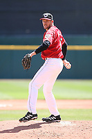 May 5th 2008:  Pitcher Adam Miller of the Buffalo Bisons, Class-AAA affiliate of the Cleveland Indians, during a game at Dunn Tire Park in Buffalo, NY.  Photo by Mike Janes/Four Seam Images