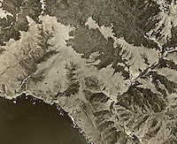 historical aerial photograph Muir Woods, western Marin county, California, 1952