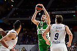 Real Madrid's player Gustavo Ayon and Felipe Reyes and Unics Kazan's player Marko Basic during match of Turkish Airlines Euroleague at Barclaycard Center in Madrid. November 24, Spain. 2016. (ALTERPHOTOS/BorjaB.Hojas)