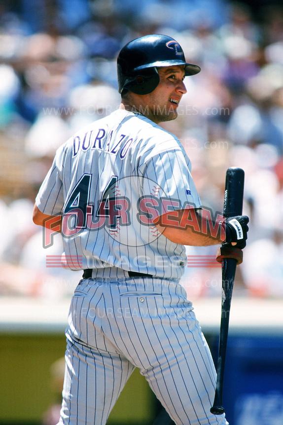Erubiel Durazo of the Arizona Diamondbacks waits on deck during a 1999 season Major League Baseball game against the Los Angeles Dodgers at Dodger Stadium in Los Angeles, California. (Larry Goren/Four Seam Images)