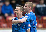 Motherwell v St Johnstone….07.05.16  Fir Park, Motherwell<br />Steven MacLean celebrates his goal with Brian Easton<br />Picture by Graeme Hart.<br />Copyright Perthshire Picture Agency<br />Tel: 01738 623350  Mobile: 07990 594431