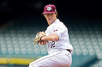 Starting pitcher John Stilson #12 of the Texas A&M Aggies in action against the Utah Utes at Minute Maid Park on March 4, 2011 in Houston, Texas.  Photo by Brian Westerholt / Four Seam Images