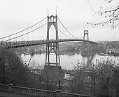 0601-A03 St. Johns Bridge with street lights. Portland, Oregon. Early 1960s.