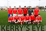 The team that lined out for the Timmy O'Brien Memorial Cup soccer game in the KDL on Saturday.  Kneeling left to right: Sean O'Sullivan, Daniel Carmody, Kevin O'Shea, Gary Coughlan, Shane McMahon, Sean Patterson<br /> Standing: Mark Lucey, Cathal Power, Nicky O'Connell, Terence Carmody, Anthony O'Leary, Barry Leahy