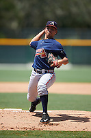 GCL Braves starting pitcher Odalvi Javier (40) during a game against the GCL Pirates on August 10, 2016 at Pirate City in Bradenton, Florida.  GCL Braves defeated the GCL Pirates 5-1.  (Mike Janes/Four Seam Images)