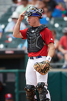 Buffalo Bisons catcher Erik Kratz (40) during a game against the Syracuse Chiefs on July 31, 2016 at Coca-Cola Field in Buffalo, New York.  Buffalo defeated Syracuse 6-5.  (Mike Janes/Four Seam Images)