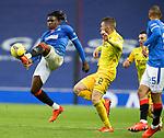 25.10.2020 Rangers v Livingston: Calvin Bassey clears from Nicky Devlin