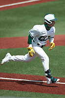 Dominic Pilolli (22) of the Charlotte 49ers hustles down the first base line against the UTSA Roadrunners at Hayes Stadium on April 18, 2021 in Charlotte, North Carolina. (Brian Westerholt/Four Seam Images)