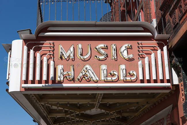 The marquee of Tarrytown Music Hall in Tarrytown, New York