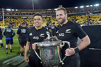 All Blacks' Kieran Read and Anton Lienert-Brown. All Blacks v Wallabies. The Rugby Championship & Bledisloe Cup at Westpac Stadium, Wellington, New Zealand on Saturday 27 August 2016.<br /> Photo by Masanori Udagawa. <br /> www.photowellington.photoshelter.com.