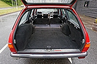 The boot with the rear seats folded down of the Mercedes W123 series 230TE estate version, outside the Penderyn Whisky Distillery in south Wales, UK. Tuesday 19 June 2018