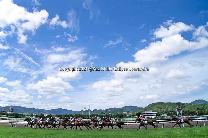 KITAKYUSHU,JAPAN-AUG 15: Horses are running under the blue sky at Kokura Racecourse on August 15,2021 in Kitakyushu,Fukuoka,Japan. Kaz Ishida/Eclipse Sportswire/CSM