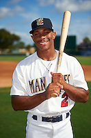 Brevard County Manatees center fielder Corey Ray (2) poses for a photo before a game against the Daytona Tortugas on August 14, 2016 at Space Coast Stadium in Viera, Florida.  Daytona defeated Brevard County 9-3.  (Mike Janes/Four Seam Images)