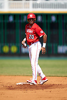 Lonnie White Jr. (20) on second base during the Baseball Factory All-Star Classic at Dr. Pepper Ballpark on October 4, 2020 in Frisco, Texas.  Lonnie White Jr. (20), a resident of Coatesville, Pennsylvania, attends Malvern Preparatory School.  (Ken Murphy/Four Seam Images)