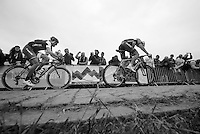 Fabian Cancellara (CHE/TrekFactoryRacing) giving it all he's got to stay on Sep Vanmarcke's (BEL/Belkin) wheel when he makes a decisive move (to catch the 2 leaders up ahead) on the final ascent of the Paterberg<br /> <br /> Ronde van Vlaanderen 2014