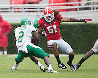 The Georgia Bulldogs played North Texas Mean Green at Sanford Stadium.  After North Texas tied the game at 21 early in the second half, the Georgia Bulldogs went on to score 24 unanswered points to win 45-21.  North Texas Mean Green running back Reggie Pegram (2), Georgia Bulldogs linebacker Ramik Wilson (51)