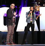 Ben Cameron and Hailey Kilgore on stage during Broadwaycon at New York Hilton Midtown on January 11, 2019 in New York City.