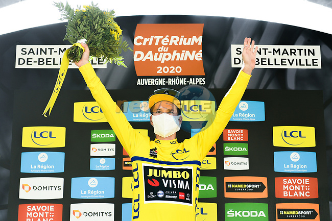 Race leader Primoz Roglic (SLO) Team Jumbo-Visma retains the Yellow Jersey at the end of Stage 3 of Criterium du Dauphine 2020, running 157km from Corenc to Saint-Martin-de-Belleville, France. 14th August 2020.<br /> Picture: ASO/Alex Broadway | Cyclefile<br /> All photos usage must carry mandatory copyright credit (© Cyclefile | ASO/Alex Broadway)