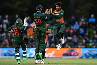 23rd March 2021; Christchurch, New Zealand;  Mahedi Hasan of Bangladesh celebrates the wicket of  of  Will Young of the Bllack Caps during the 2nd ODI cricket match, Black Caps versus Bangladesh, Hagley Oval, Christchurch, New Zealand.