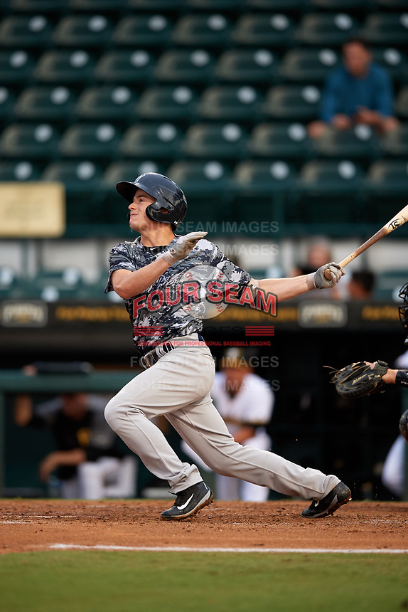 Tampa Yankees second baseman Nick Solak (39) follows through on a swing during the second game of a doubleheader against the Bradenton Marauders on June 14, 2017 at LECOM Park in Bradenton, Florida.  Tampa defeated Bradenton 5-1.  (Mike Janes/Four Seam Images)