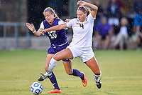 Texas State forward Lynsey Curry (4) and TCU forward Michelle Prokof (10) battle for ball control during NCAA soccer game, Friday, September 12, 2014 in San Marcos, Tex. TCU defeated Texas State 1-0. (Mo Khursheed/TFV Media via AP Images)