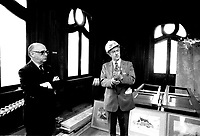 Montreal Mayor Jean Drapeau attend a news conference at Chateau Dufresne (under renovation). June 17, 1976.<br /> <br /> File Photo : Agence Quebec Presse - Alain Renaud