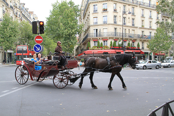Visitors in a horse drawn carriage, Paris, France.