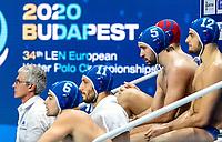 5 ITA FONDELLI Andrea Italy, 12 ITA DOLCE Vincenzo Italy<br />  <br /> Budapest 16/01/2020 Duna Arena <br /> France (white caps) Vs. Italy (blue caps) Men<br /> XXXIV LEN European Water Polo Championships 2020<br /> Photo  ©Giorgio Scala / Deepbluemedia / Insidefoto