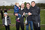 © Joel Goodman - 07973 332324 . 25/04/2015 . Salford , UK . Gary Neville (2nd from right) . poses for pictures with the cup . Evostick League champions , Salford FC , play Osset Town , in Salford . Photo credit : Joel Goodman