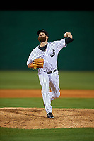 Jackson Generals relief pitcher Daniel Gibson (43) delivers a pitch during a game against the Chattanooga Lookouts on April 27, 2017 at The Ballpark at Jackson in Jackson, Tennessee.  Chattanooga defeated Jackson 5-4.  (Mike Janes/Four Seam Images)