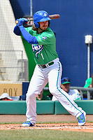 Brendan Rodgers (1) of the Hartford Yard Goats stands in the batters box during a game against the New Hampshire Fisher Cats at Dunkin Donuts Park on April 8, 2018 in Hartford, Connecticut.<br /> (Gregory Vasil/Four Seam Images)