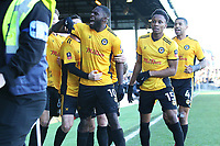 Frank Nouble of Newport County celebrates scoring his sides first goal of the match to equalise with Leeds after his cross deflected off Conor Shaughnessy of Leeds United the Fly Emirates FA Cup Third Round match between Newport County and Leeds United at Rodney Parade, Newport, Wales, UK. Sunday 07 January 2018