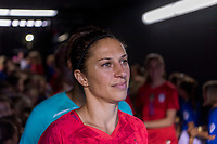 PHILADELPHIA, PA - AUGUST 29: Carli Lloyd #10 of the United States waits to enter the field prior to a game between Portugal and the USWNT at Lincoln Financial Field on August 29, 2019 in Philadelphia, PA.