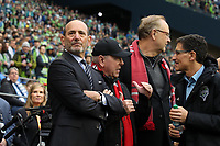 SEATTLE, WA - NOVEMBER 10: MLS Commissioner Don Garber, Toronto FC owners Larry Tanenbaum and George Cope, and Seattle Sounders FC owner Adrian Hanauer wait for the players to enter the field during a game between Toronto FC and Seattle Sounders FC at CenturyLink Field on November 10, 2019 in Seattle, Washington.