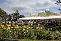 General view of Stoke Park as Spectators arrive at the Players Lounge ahead of Novak Djokovic (SRB) arrival during The Boodles Tennis 2015 tournament match at Stoke Park, Stoke Poges, England on 25 June 2015. Photo by Andy Rowland.