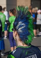 Seahawks fan with blue and green mohawk, Seahawks 12K Run 2016, The Landing, Renton, Washington, USA.