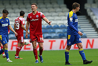 Colby Bishop of Accrington Stanley compaining to the officials during AFC Wimbledon vs Accrington Stanley, Sky Bet EFL League 1 Football at The Kiyan Prince Foundation Stadium on 3rd October 2020